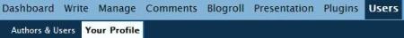 wordpress user option screenshot