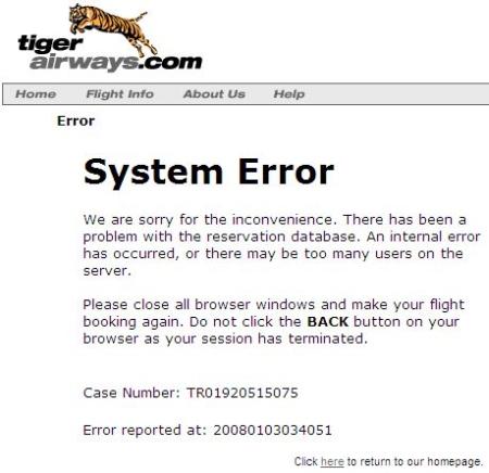 tiger airways system failure screenshot