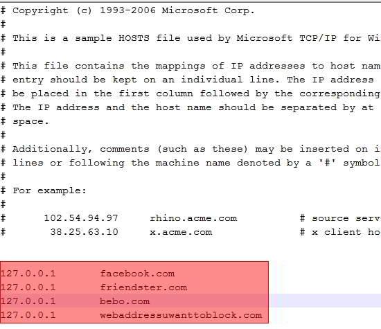 windows hosts file block website