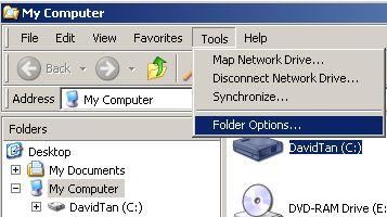 my computer tools folder options