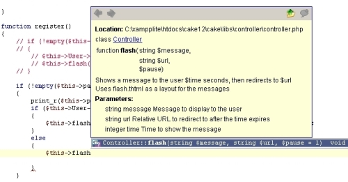 cakephp with auto completion in Zend Studio