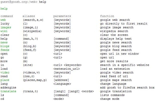 goosh google shell commands