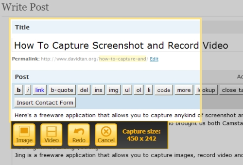 screenshot or screen capture using jing
