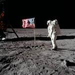 google nasa astronaut on moon