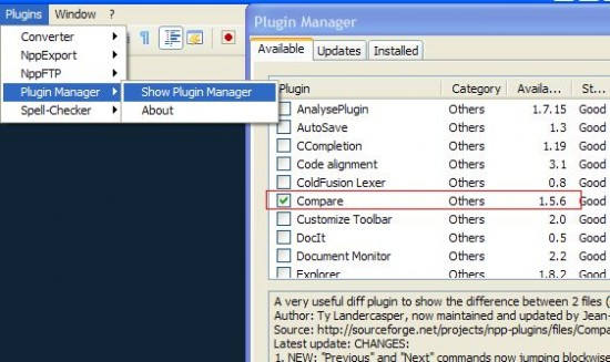 notepad++ plugin manager compare plugin