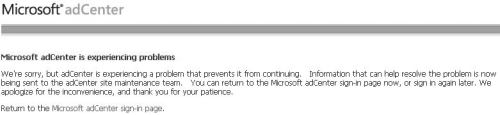 adcenter error screenshot