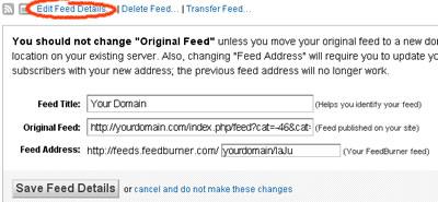 Feedburner Feed Details