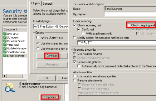 avg antivirus email scanner configuration