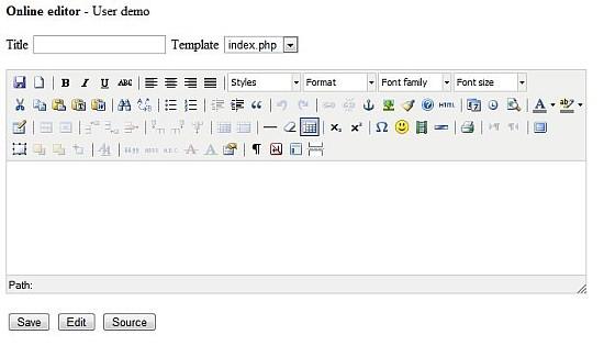 tinymce user input form editor