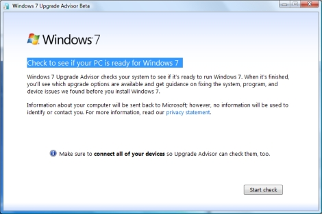 windows 7 upgrade advisor screenshot