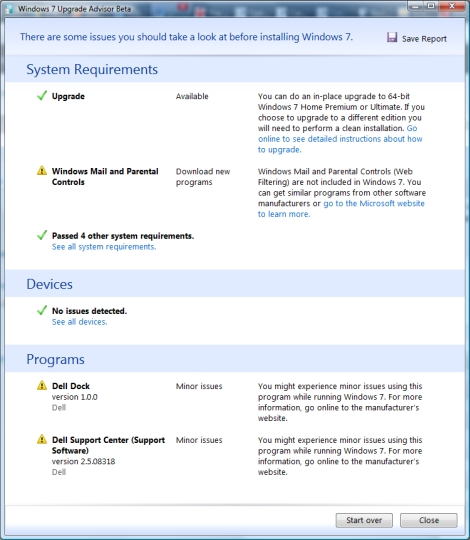windows 7 upgrade advisor report result dell screenshot
