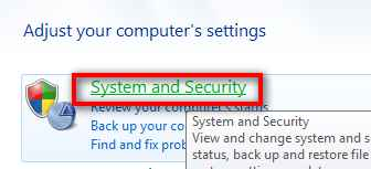 control panel system security windows 7