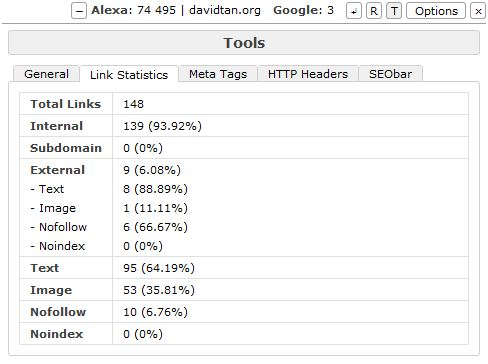 opera seobar tools link stats