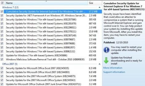 windows 7 update download list