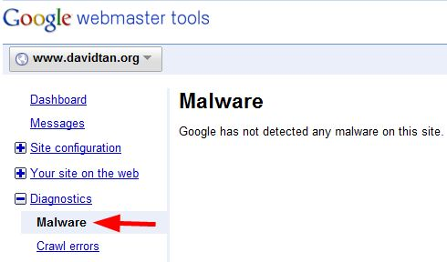 google webmaster tools malware diagnostics