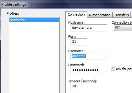 notepad plus nppftp plugin profile settings