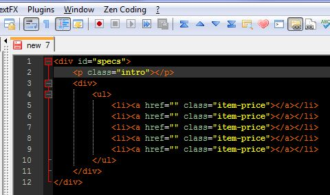 zen coding notepad++ html