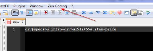 zen coding notepad++ menu
