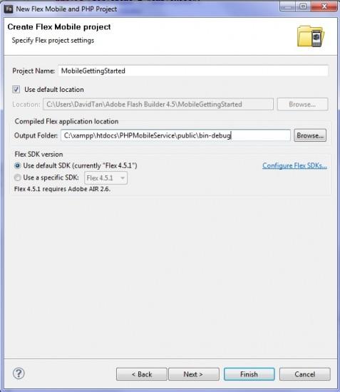 xampp flash builder php mobile app flex project setting