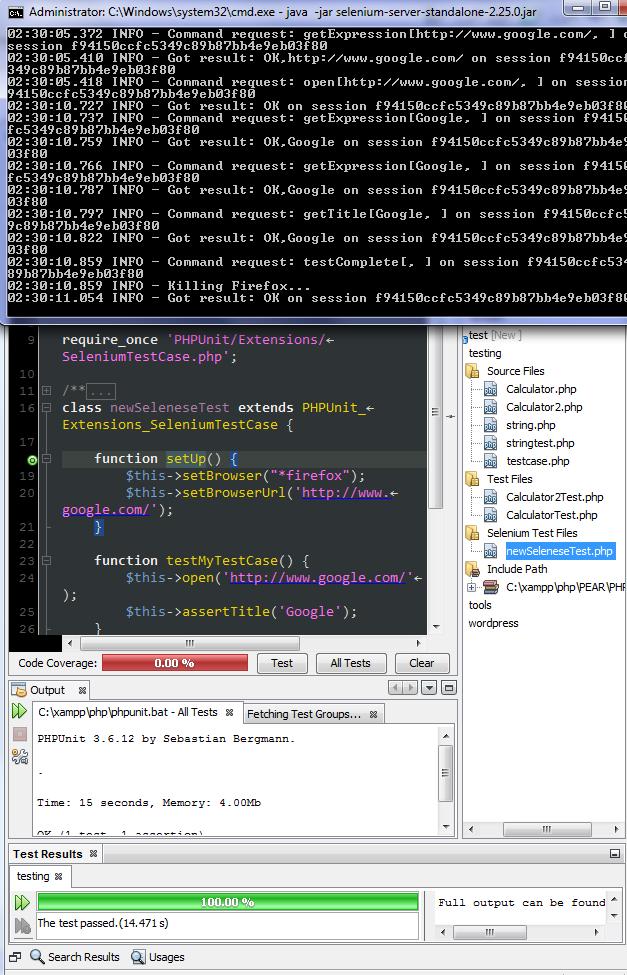 xampp netbeans phpunit selenium testing
