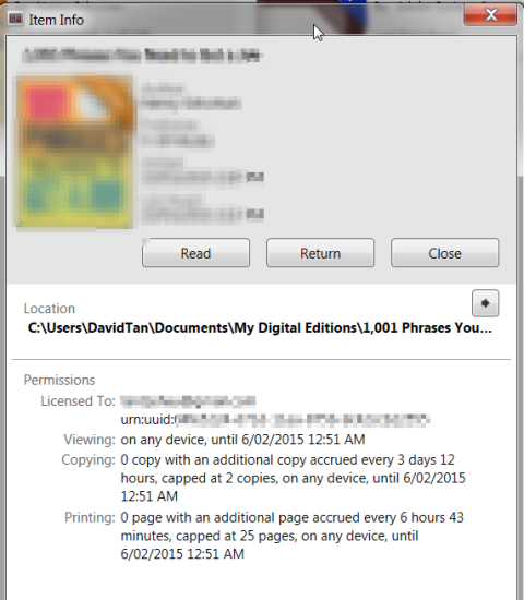 adobe digital edition ADE item info screenshot