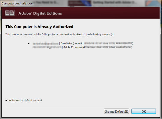 adobe digital edition ADE overdrive authorization