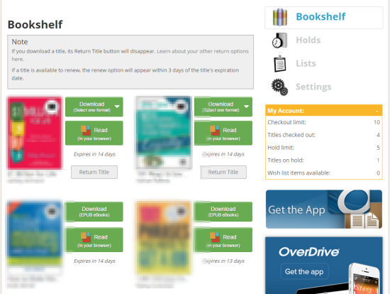 overdrive website library bookshelf